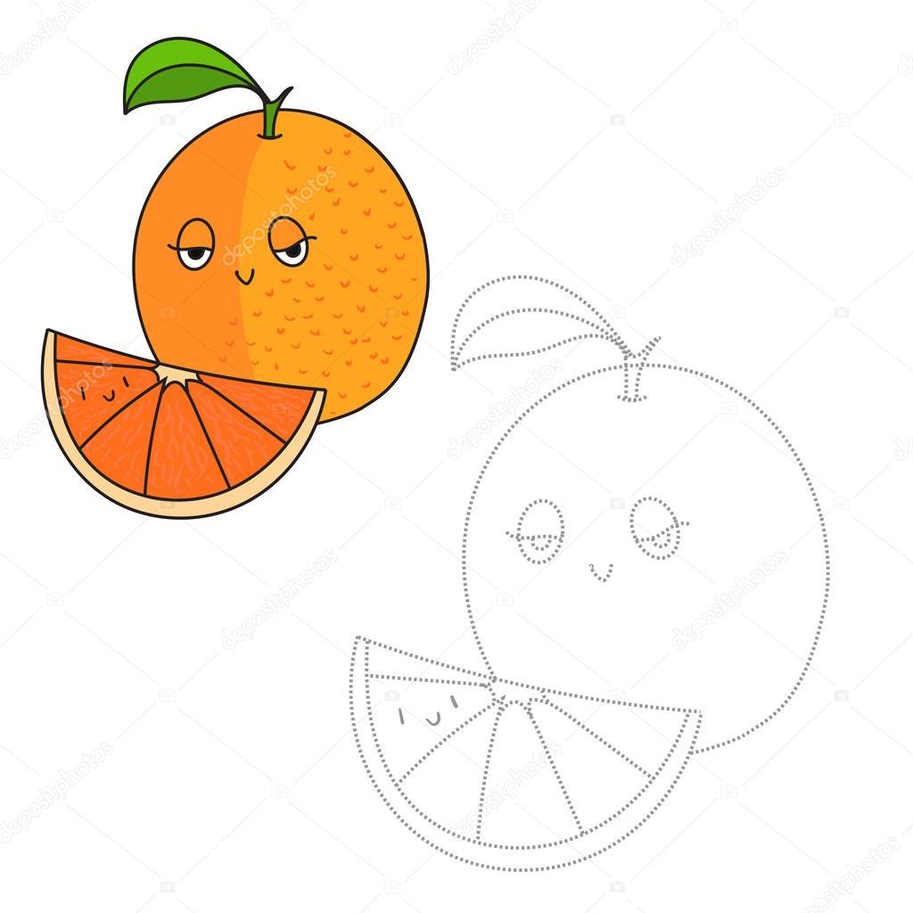 Lernspiel Verbinde Punkte Orange Zeichnen Stockvektor