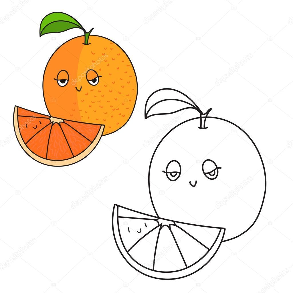Eğitim Oyunu Kitap Turuncu Meyve Vektör Boyama Stok Vektör
