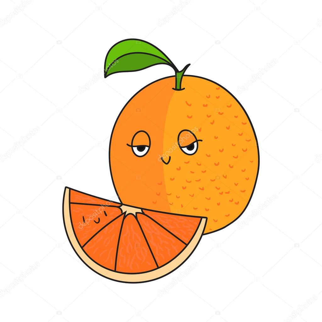 Dibujos Naranja Fruta Caricatura Fruta Naranja Vector Ilustracion