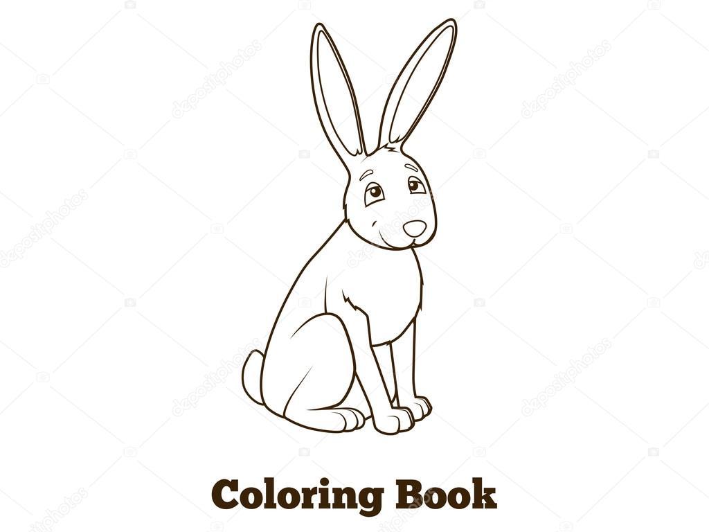 Lesnich Zvirat Zajic Kresleny Obarveni Kniha Vektor Stock Vektor
