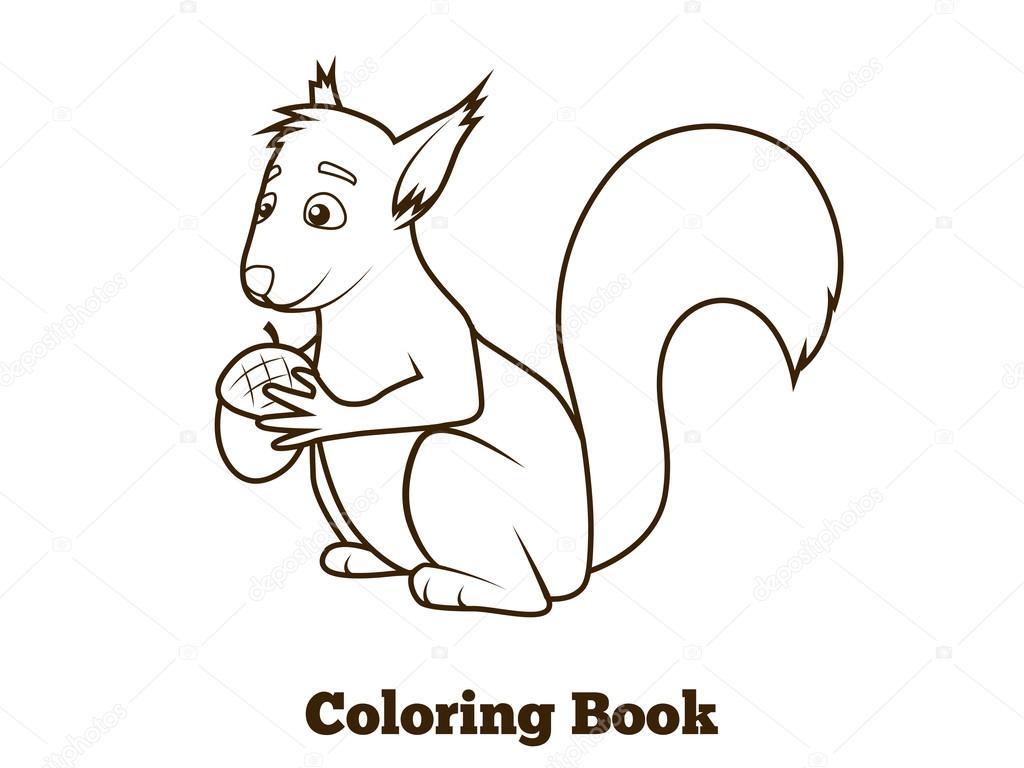 Imagenes Animadas Para Colorear: Dibujos Animados De Ardilla