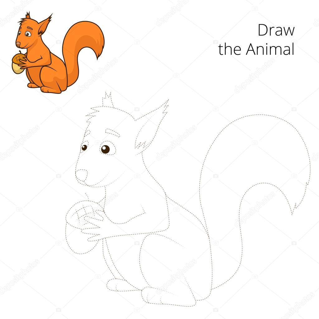 Zeichnen Sie Den Wald Tier Eichhörnchen Cartoon Vektor Stockvektor