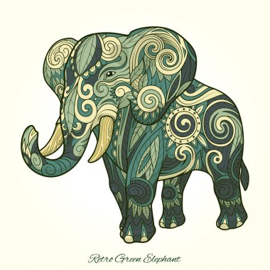 Elephant green ornament ethnic vector illustration