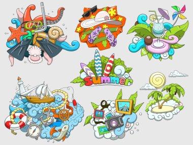 Summer set design color vector illustration
