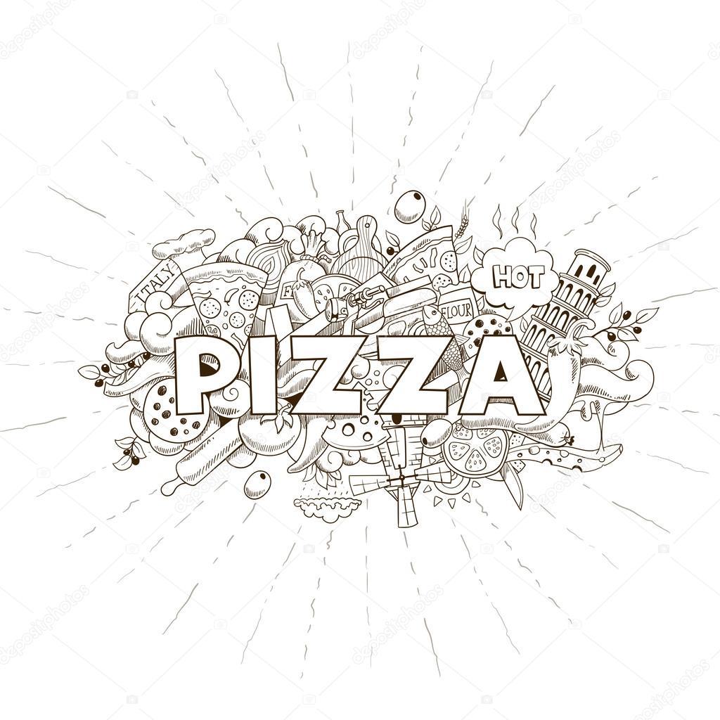 Pizza Mano Disegnato Titolo Disegno Vettoriale Vettoriali Stock