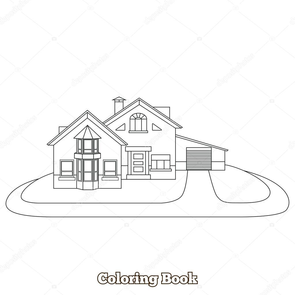 Dibujos Animados De La Casa Para Colorear Ilustración Vectorial Del