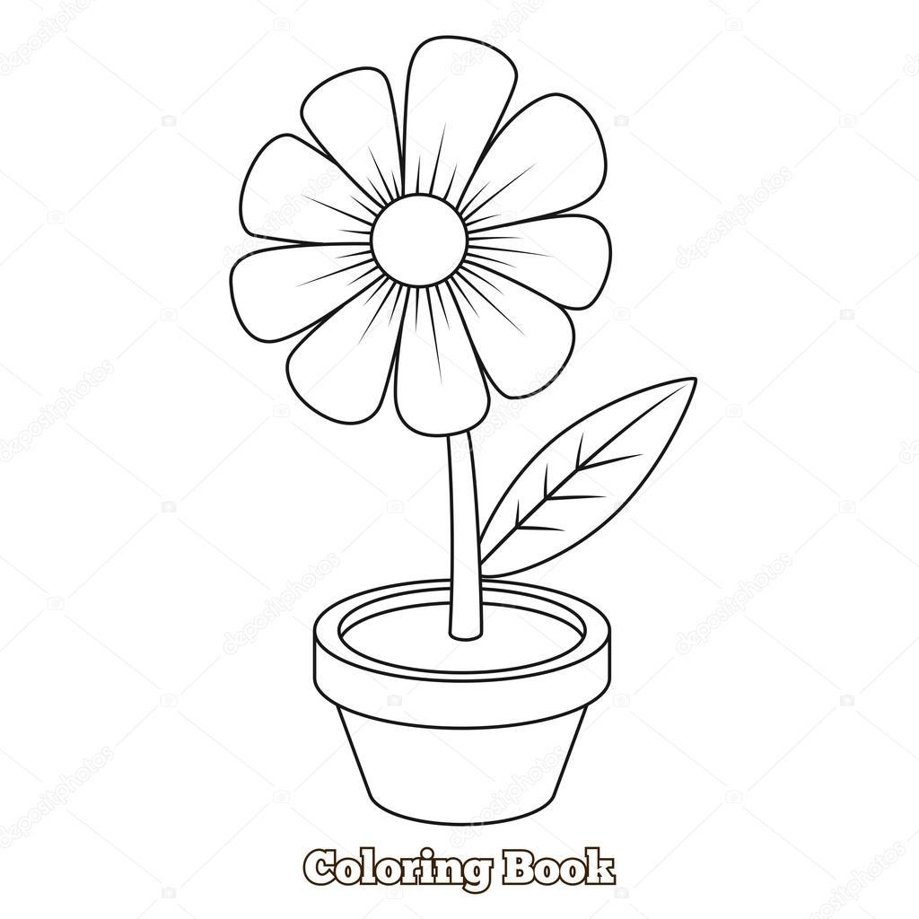 Dibujos Animados De Flores Para Colorear Ilustración Vectorial Del
