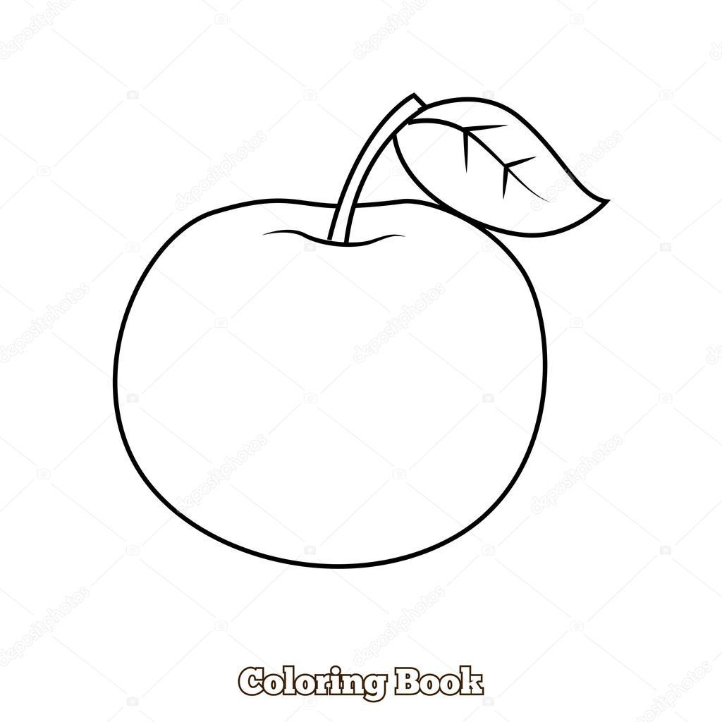 Manzana para colorear ilustración vectorial del libro — Archivo ...