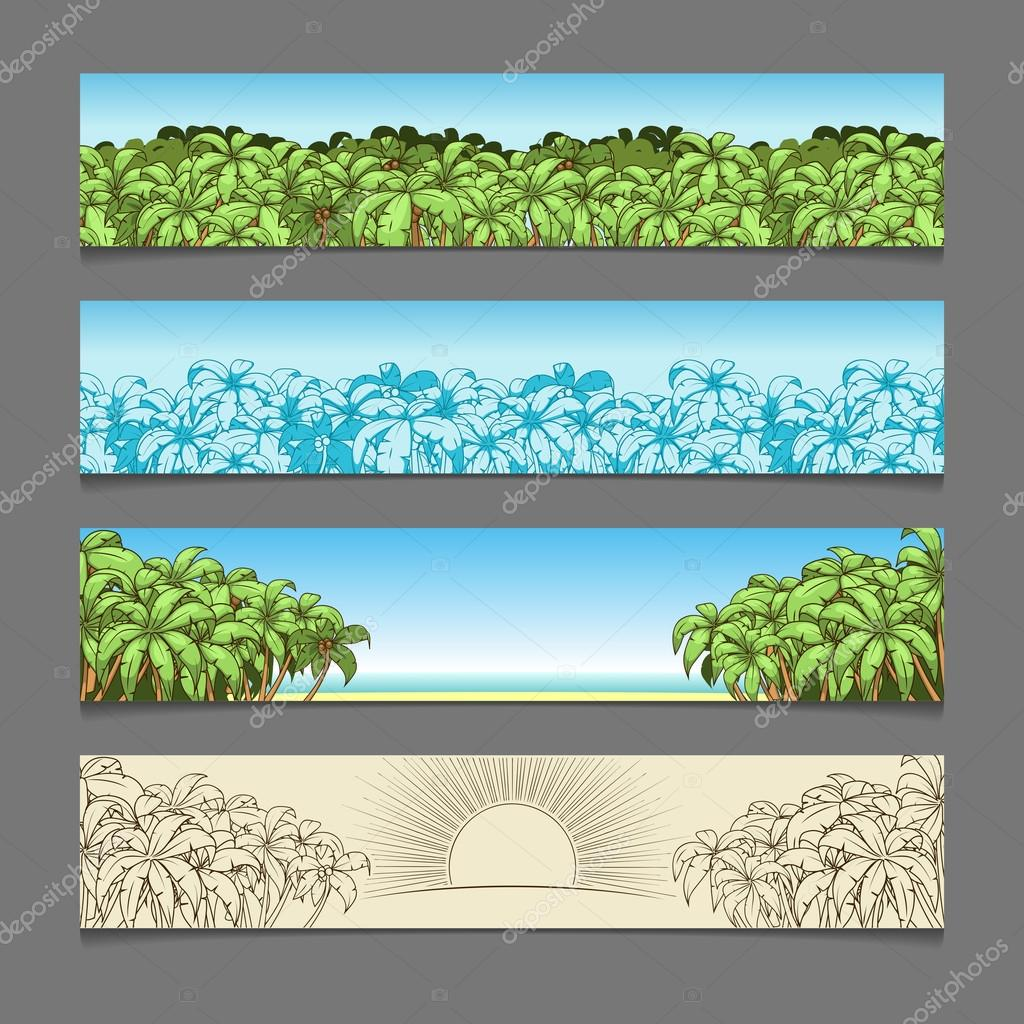 Banner ads palm tree theme vector illustration