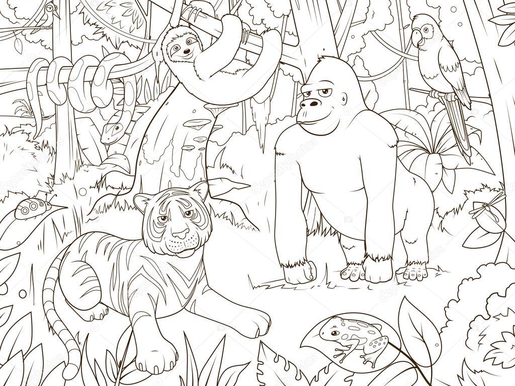 Orman Hayvanlar Karikatür Kitap Vektör Boyama Stok Vektör