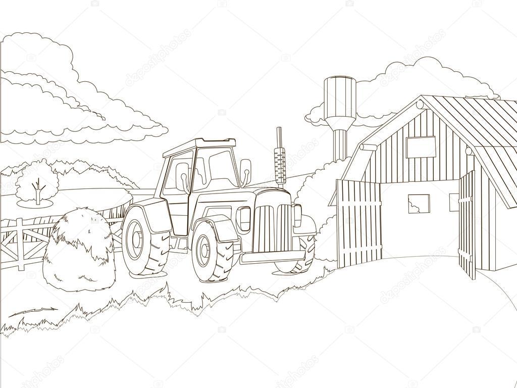 Tractor en la granja para colorear vector libro — Archivo Imágenes ...