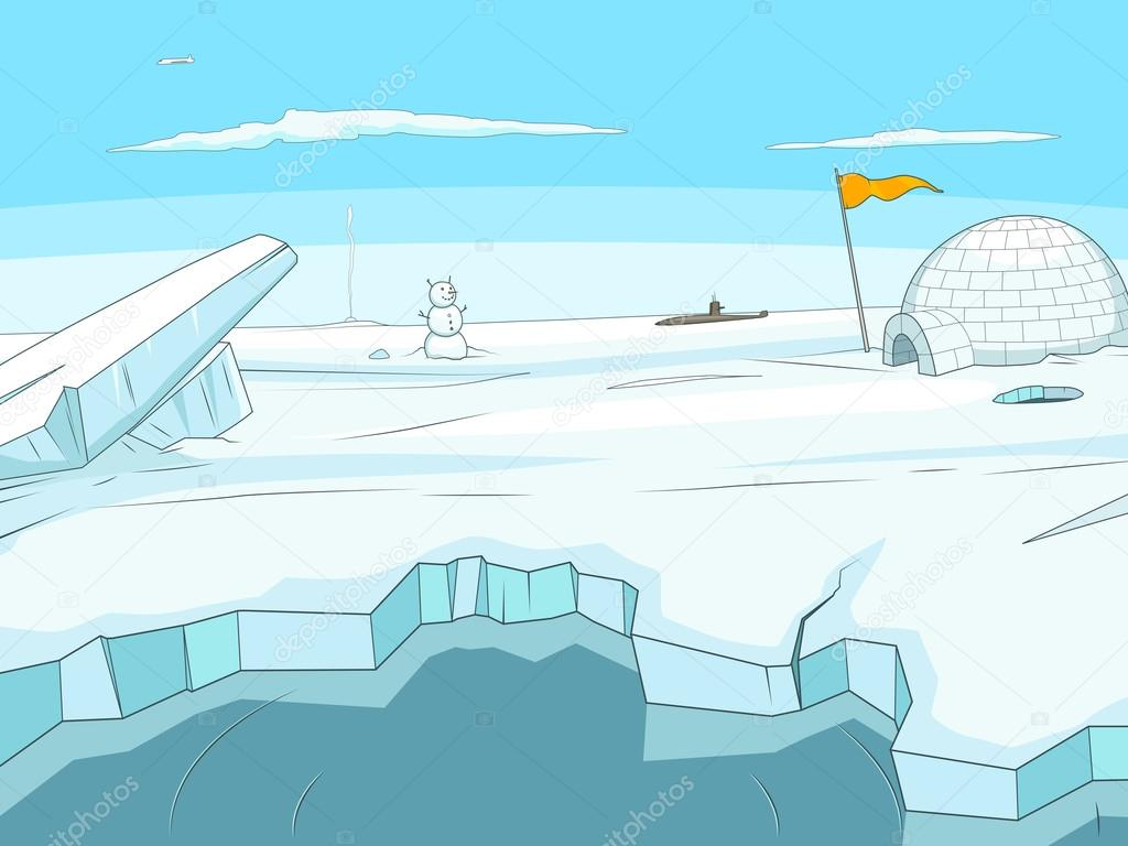 Arctic Cartoon Background Vector