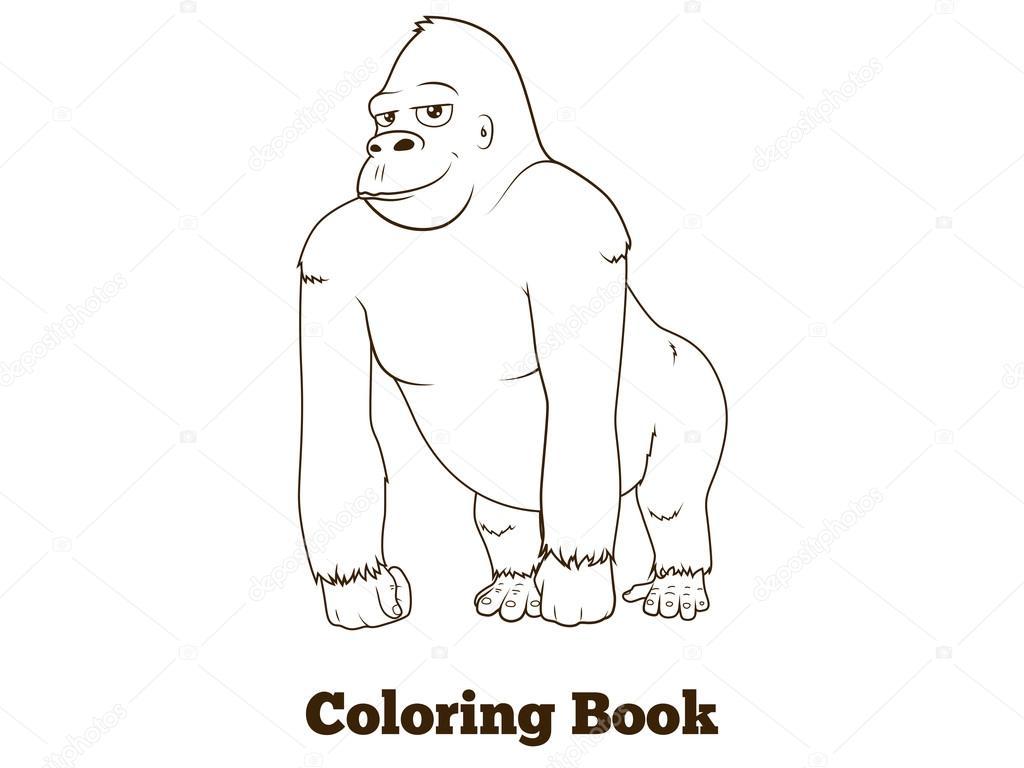 Goril Karikatür Kitap Vektör Illustration Boyama Stok Vektör