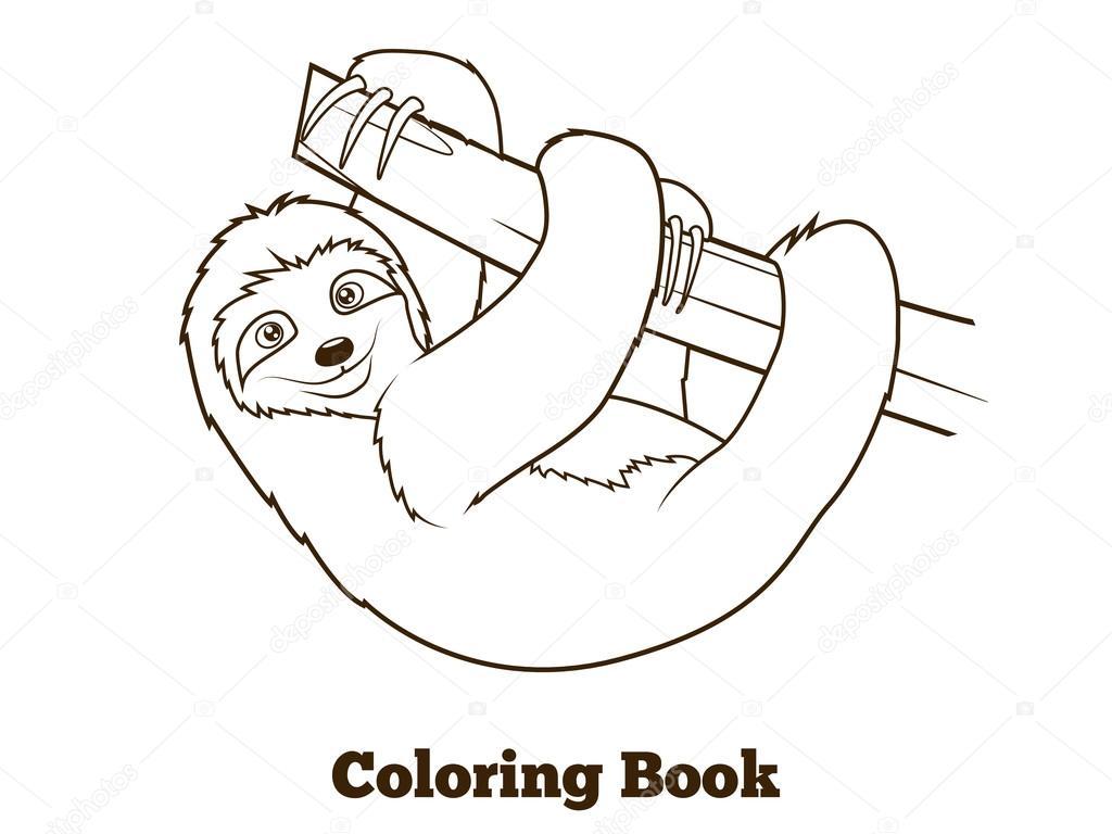 Dibujos animados de pereza para colorear ilustración vectorial del ...