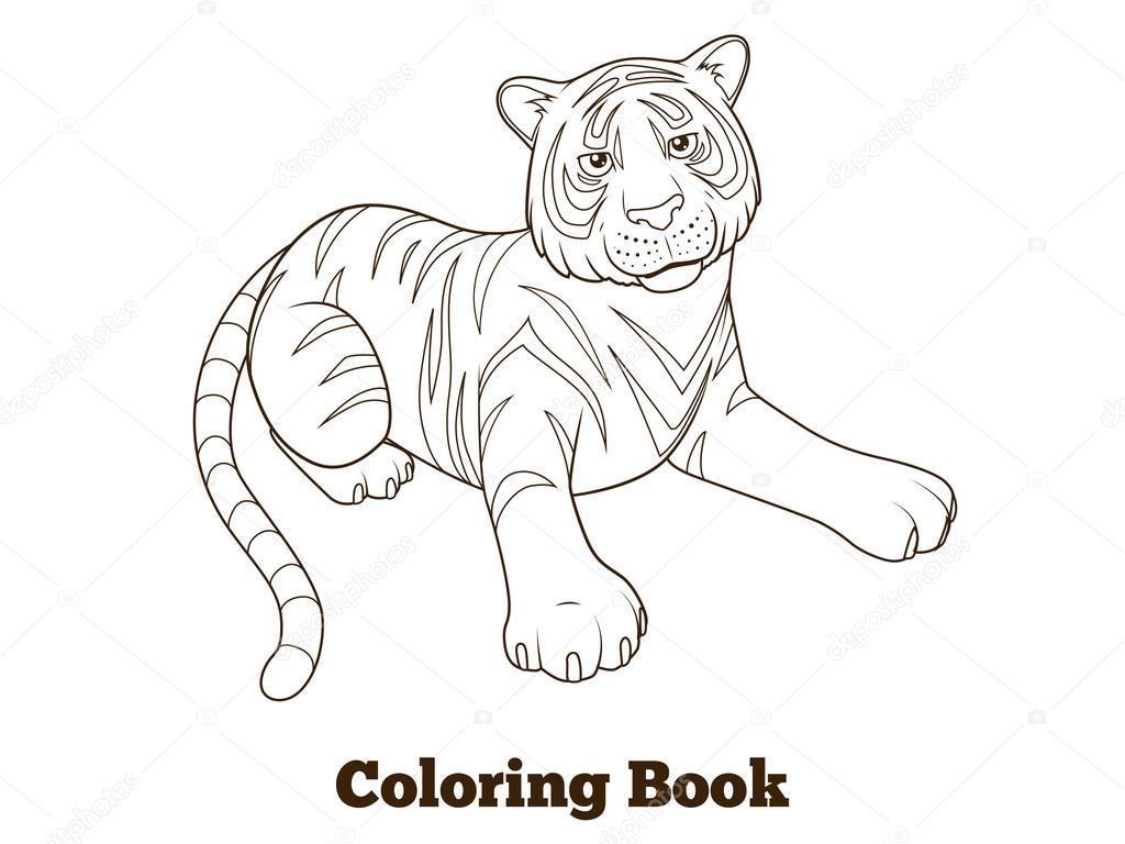 caricatura de tigre para colorear ilustración vectorial del libro