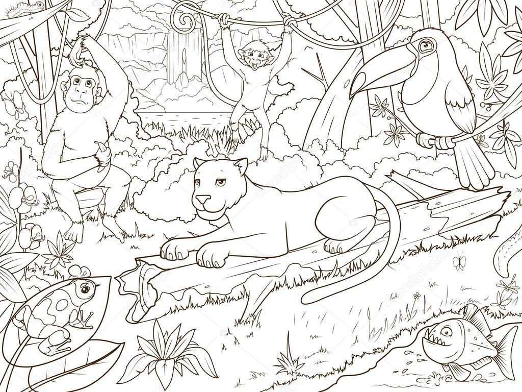 selva floresta animais dos desenhos animados livro para colorir