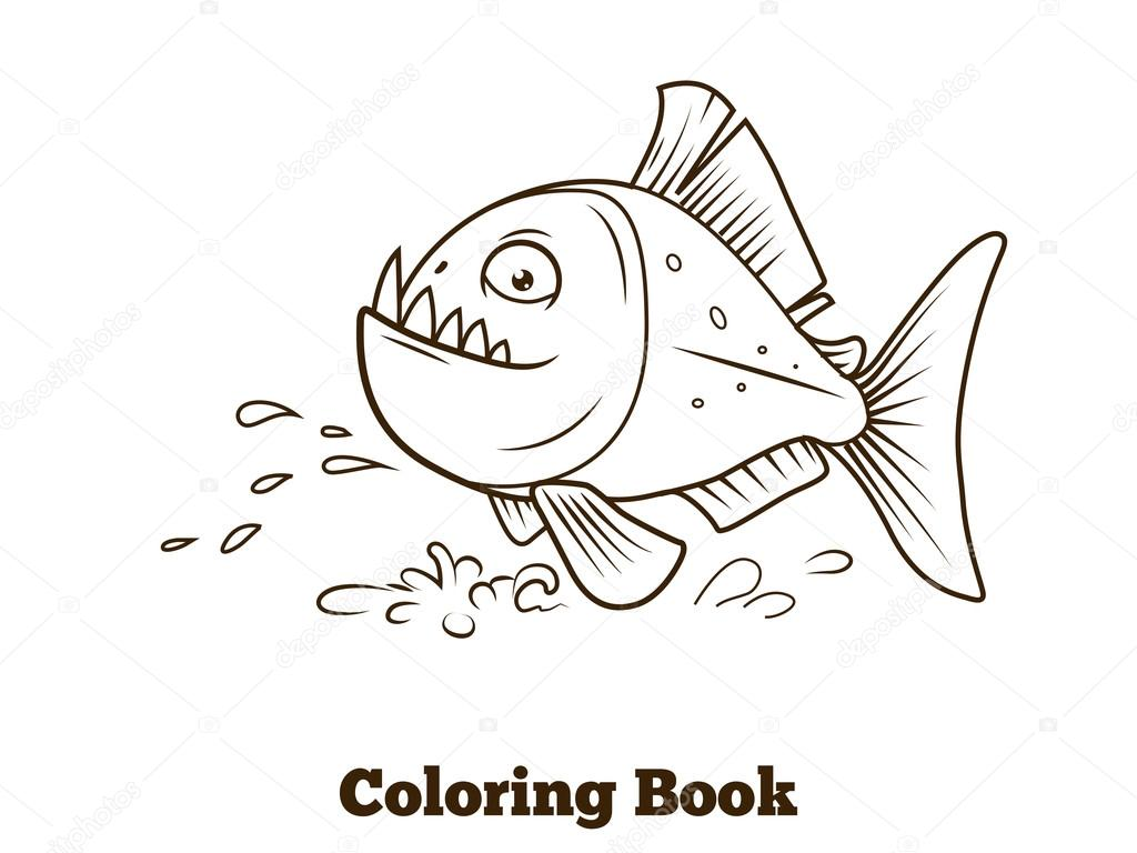 Piranha Fish Cartoon Coloring Book Vector Stock Vector