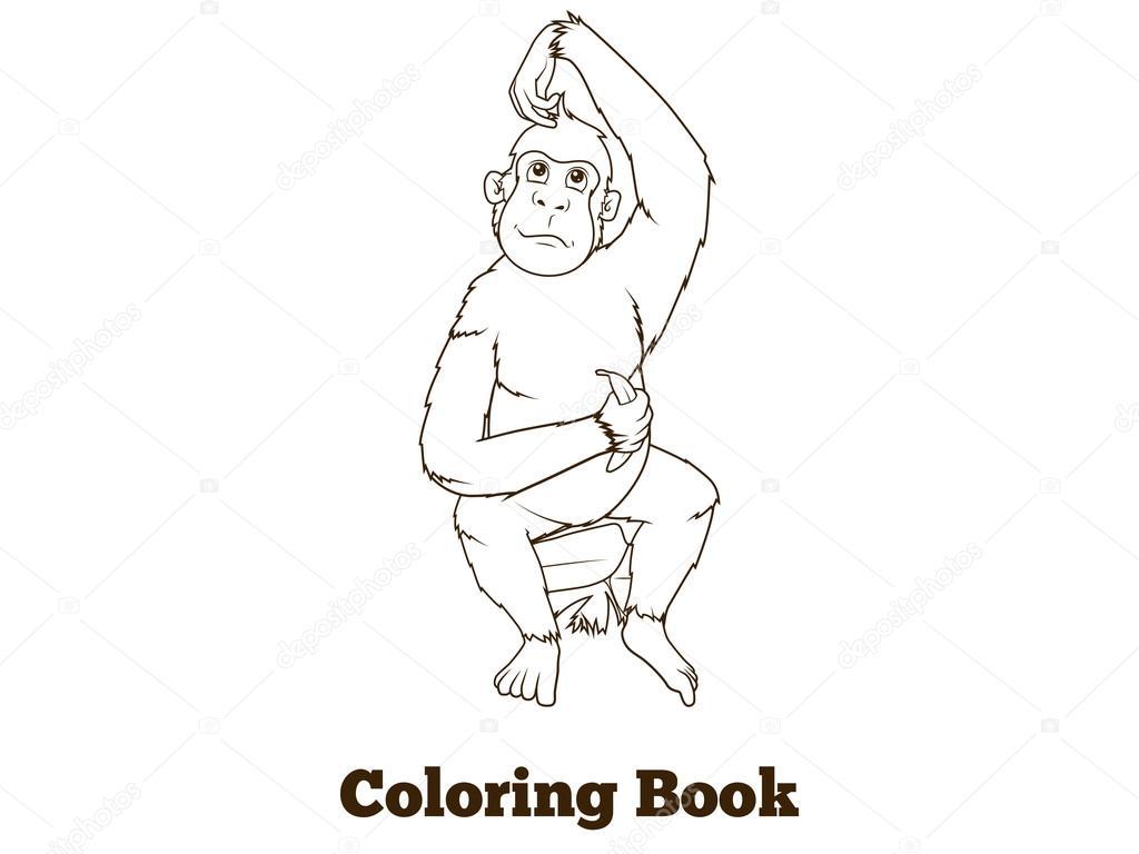 Dibujos animados de orangután para colorear vector libro — Archivo ...