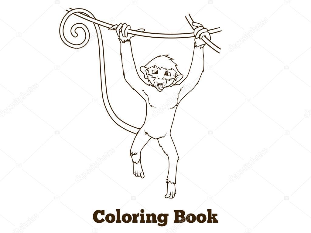 Desenho De Macaco Ilustração Vetorial De Livro De Colorir