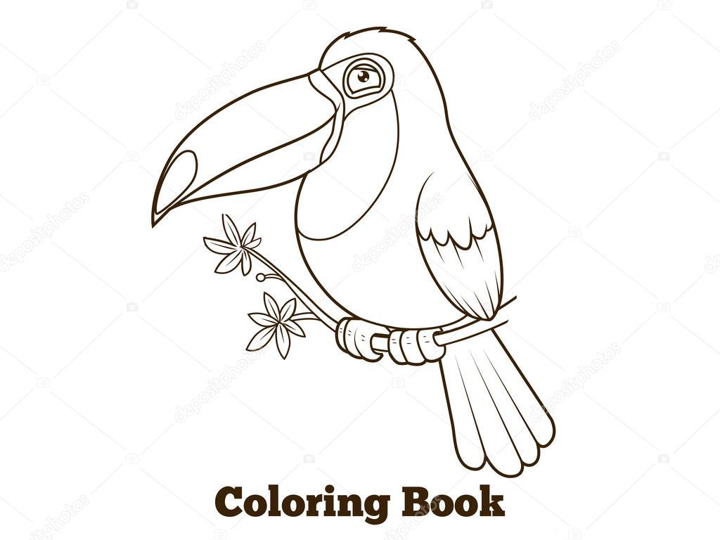 Dibujos animados de pájaro tucán para colorear vector libro ...
