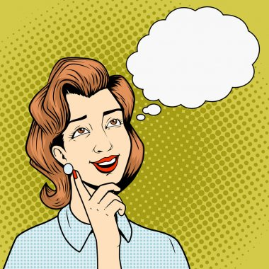 Girl thinking something comic book style vector