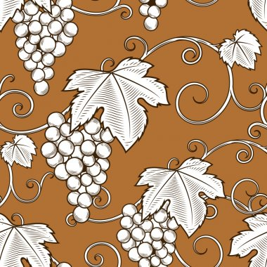 Grape vine branches seamless pattern vector