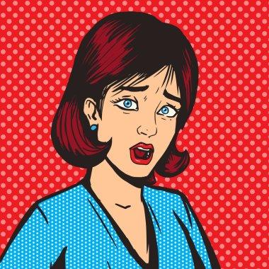 Girl scream pop art style vector