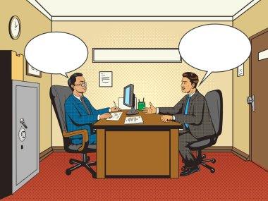 Men in office talk pop art retro style vector