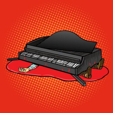 Grand piano fell on man pop art vector