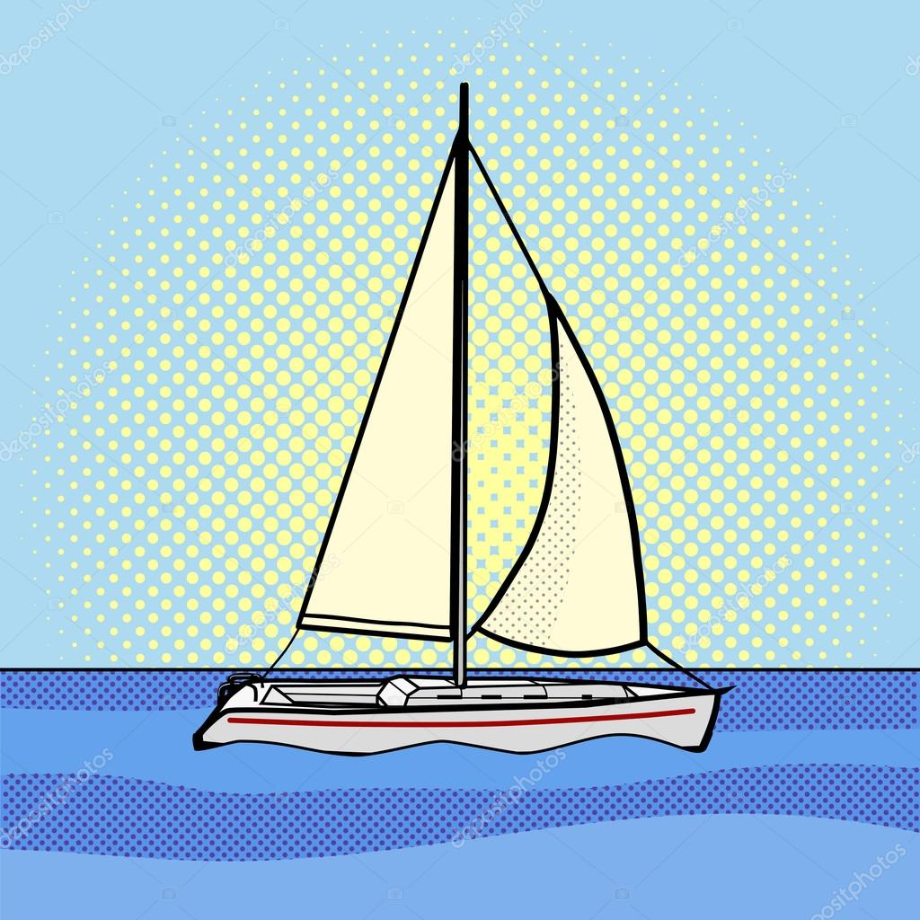 Sailing yacht pop art style vector