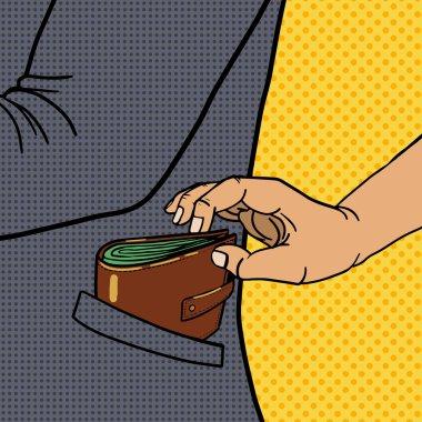 Thief steals wallet from pocket pop art vector