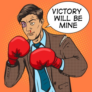 Businessman fights in boxing gloves pop art vector
