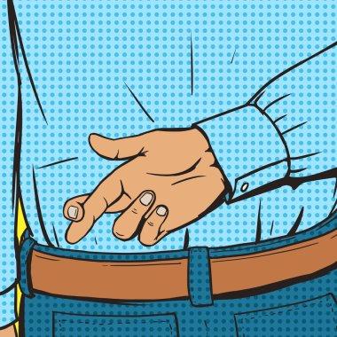 Crossed fingers gesture pop art style vector