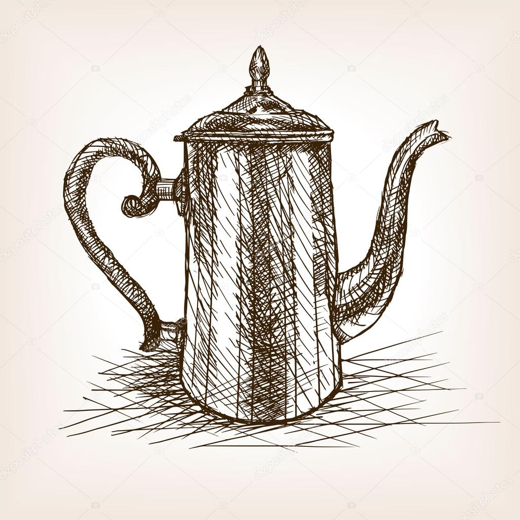 Tea pot vintage hand drawn sketch style vector — Stock ...