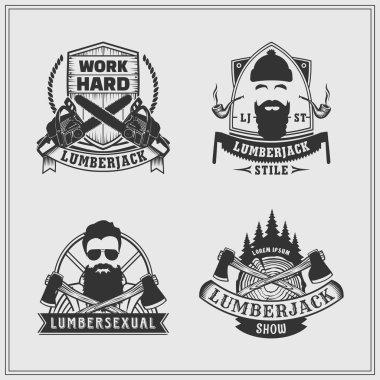 Set of lumberjack labels and emblems.