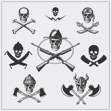 Set of pirate emblems with skull.