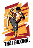 Photo Vector illustration of Muay Thai fighter on an abstract background. Thai boxing poster.