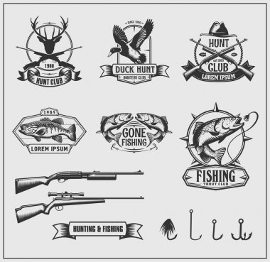 Set of hunting and fishing club badges, labels and design elements. Vector monochrome illustration.