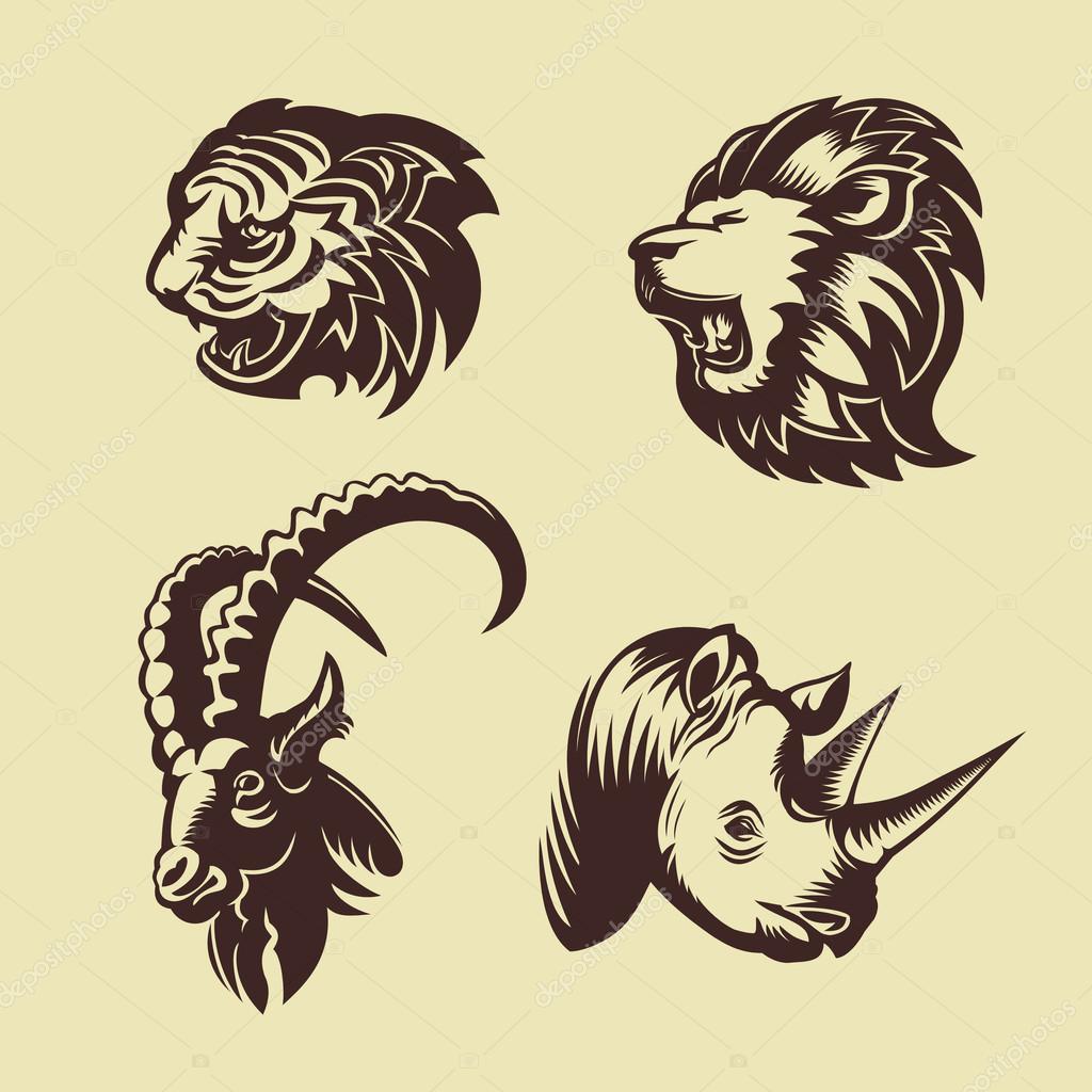 Collection De Tetes D Animaux Lion Tigre Rhino Et Chevre