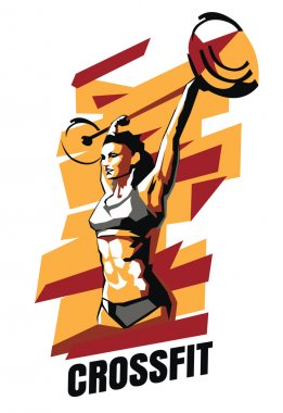 Vector illustration of woman CrossFit on an abstract background. CrossFit poster.