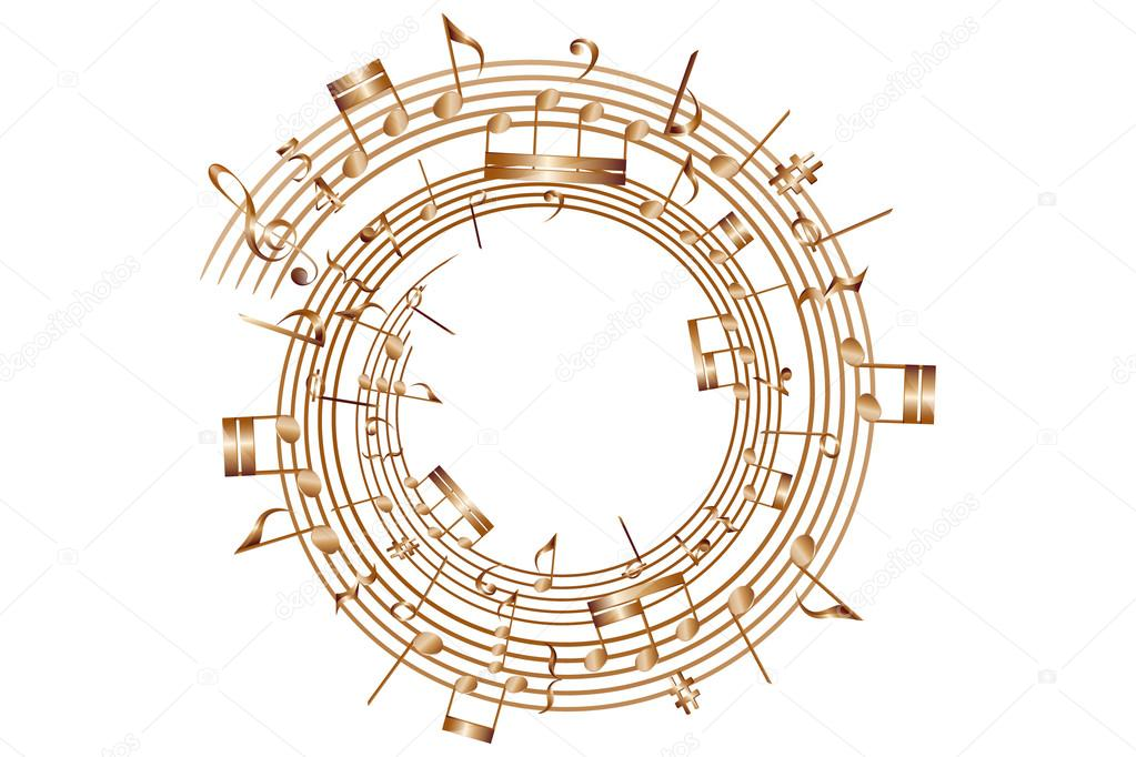 Circle musical score and notes vector element.