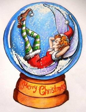 Christmas card: a fairy is having a rest