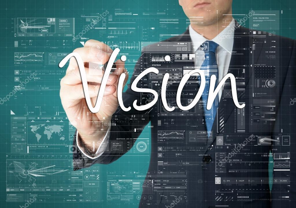 depositphotos_85992906 stock photo the businessman is writing vision el empresario está escribiendo la visión en el tablero transparente