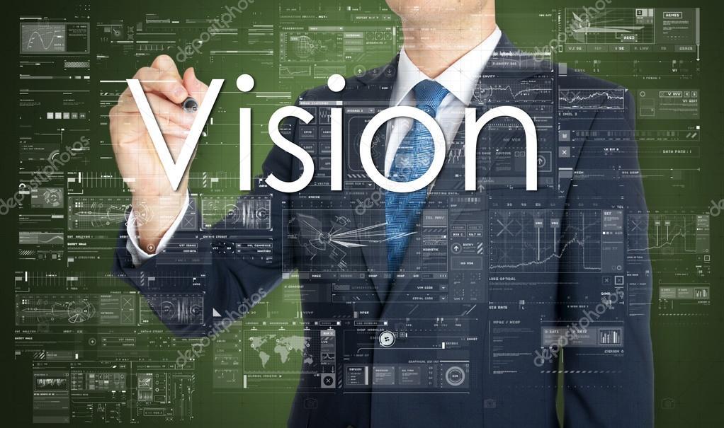 depositphotos_86000150 stock photo the businessman is writing vision el empresario está escribiendo la visión en el tablero transparente