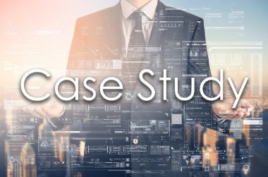 Businessman is presenting text: Case Study