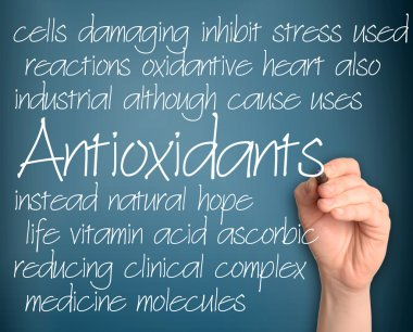 Antioxidants word cloud handwritten on dark blue background