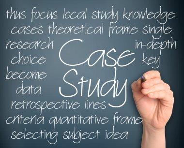 Case study word cloud handwritten on dark blue background
