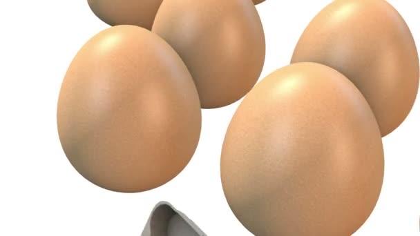 Uova di caduta 3D nella priorità bassa bianca