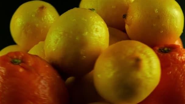 Citrus Rotating Against Black Background