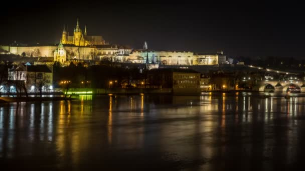 Timelapse of the Vltava and Charles Bridge in Prague by Night